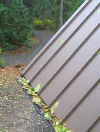 Gutters topped with gutter screens