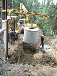 Lowering a septic tank