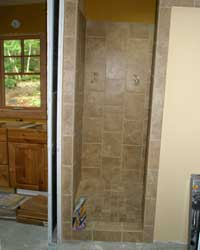 Tile shower in the master bath