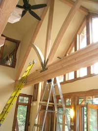 Curved beams added to the beams above the great room