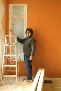 Kathy doing some interior painting