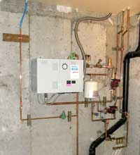 Copper piping distributing water through the hydronic heating system