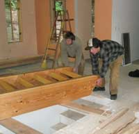 Spencer and Jeff West moving the stairway into place