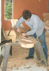 Spencer West carving a stringer for the stairway