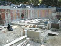 Forms in place for the concrete walls