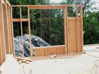 Framing on east wall of the main floor