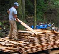 Maple and alder trees were milled on site